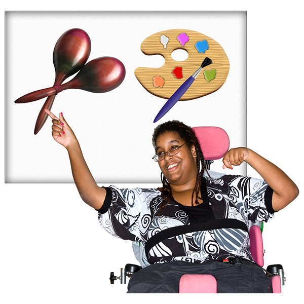 a teenage girl in a wheelchair is pointing at a board. The board has a choice of activities on it. The activities are music or art. She is pointing at music