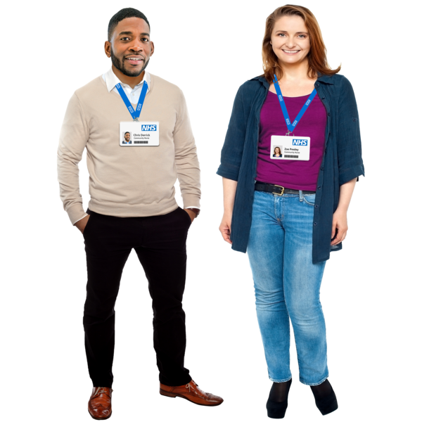 man and woman with NHS badges around their necks