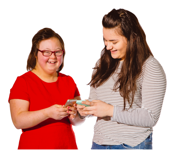 two teenage girls chatting and using mobile phones