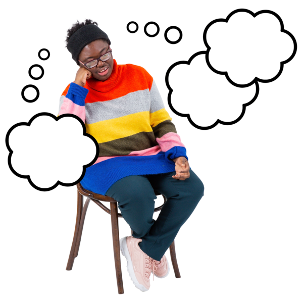 young person on chair looking sad with thought bubble
