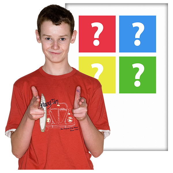 boy showing two thumbs up with questions marks in background