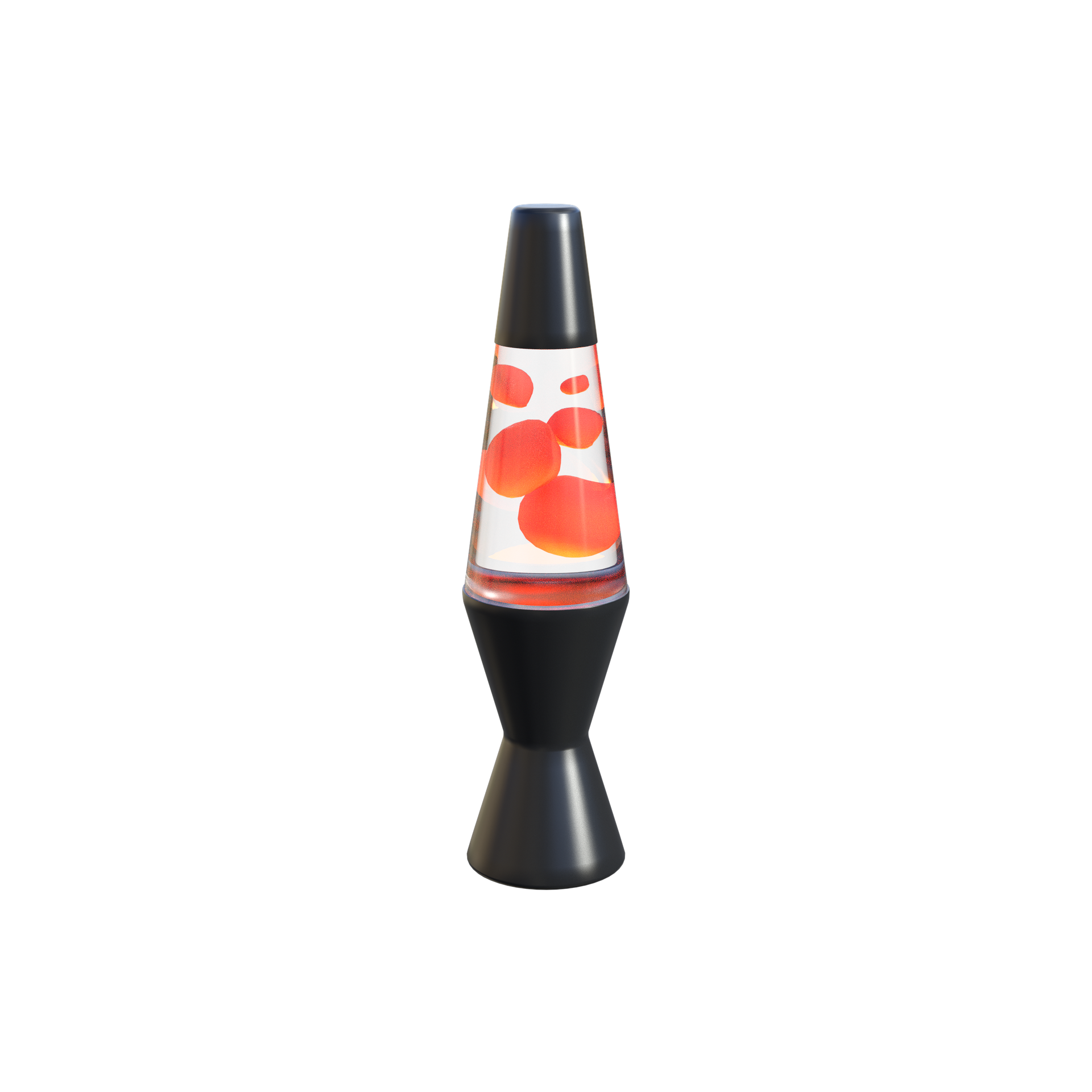 black lava lamp with orange and red floating lava