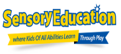 sensory education logo with yellow words and a blue border
