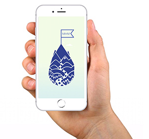 hand holding a mobile phone showing the molehill mountain app