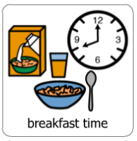 picture symbol for breakfast time with image of a clock and a cereal bowl