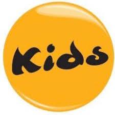 Kids logo with black writing on yellow circle