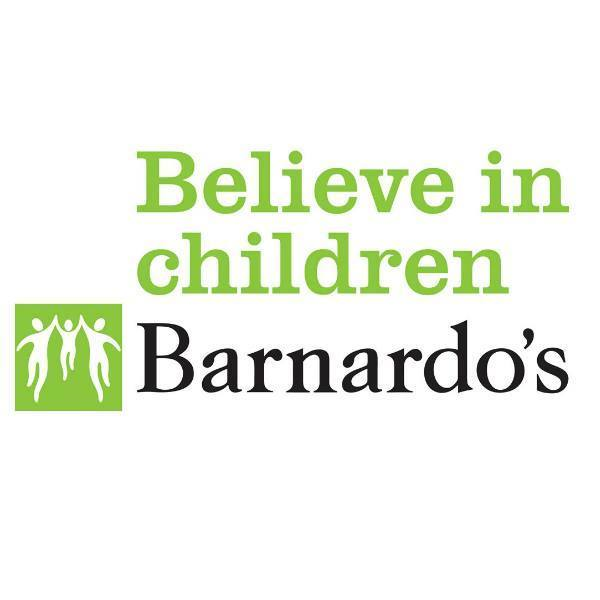 Barnardos logo in black saying believe in children in green