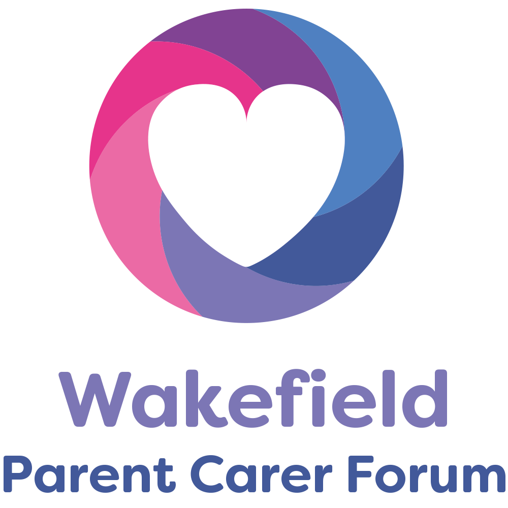 Wakefield Parent Carer Forum in purple writing with pink, purple and blue circle with white heart in middle