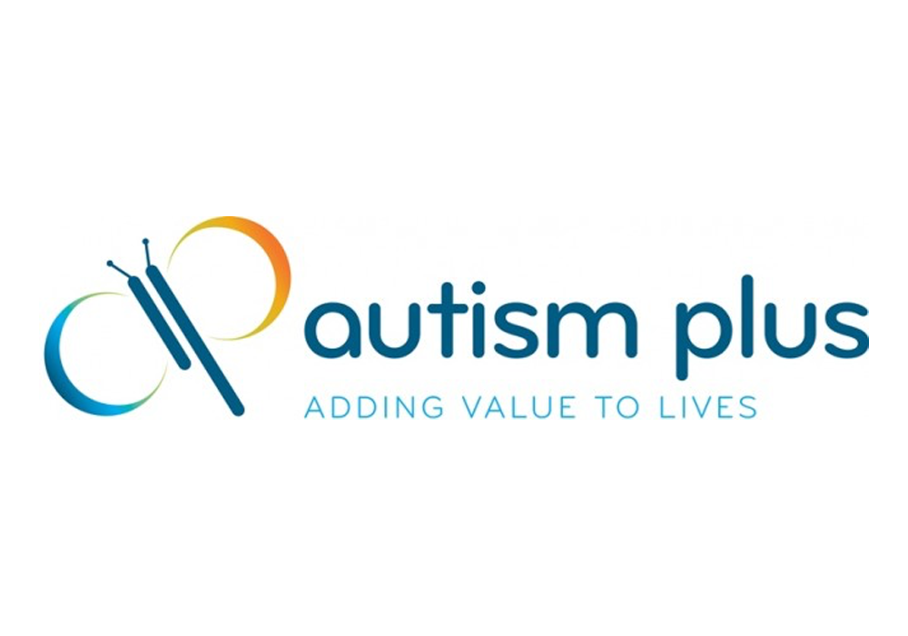 autism plus logo in dark blue with blue and orange butterfly