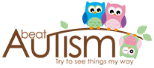 Beat Autism logo in brown with three owls on a branch