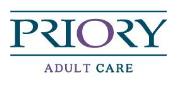 Priory Adult Care logo in blue and purple letters