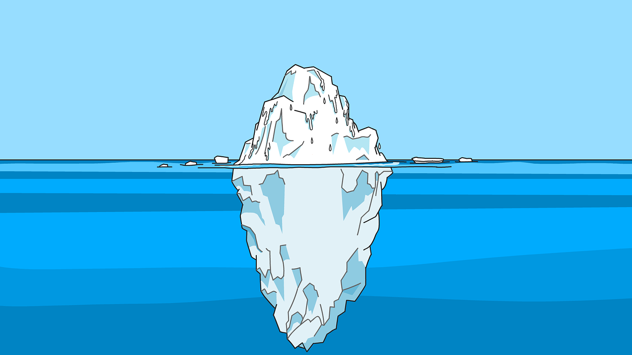 a cross section of an iceberg showing more iceberg under the surface than above the water