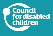 Council for Disabled Children logo white text on turquoise background