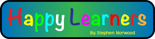 Happer Learners logo in rainbow writing in a blue and green rectangle
