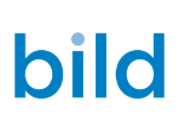 the word bild in blue on a white background