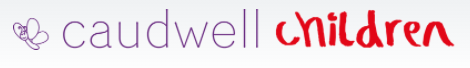 cauldwell children logo in purple and red with butterfly ont he left