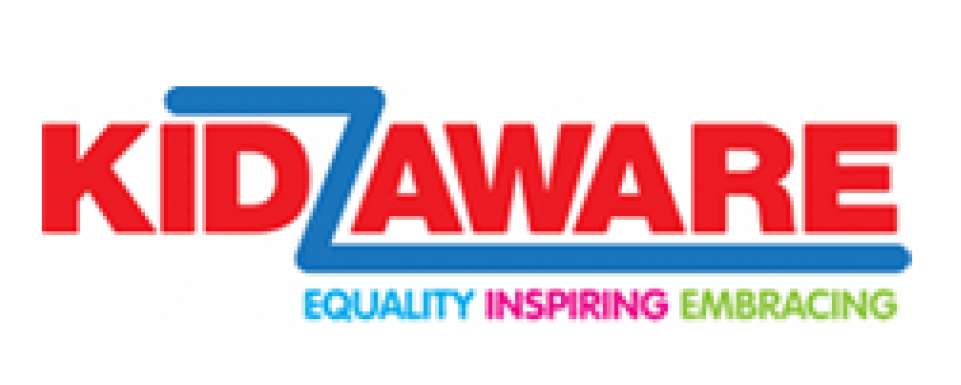 Kidz Aware in red with the words equality, inspiring and embracing underneath