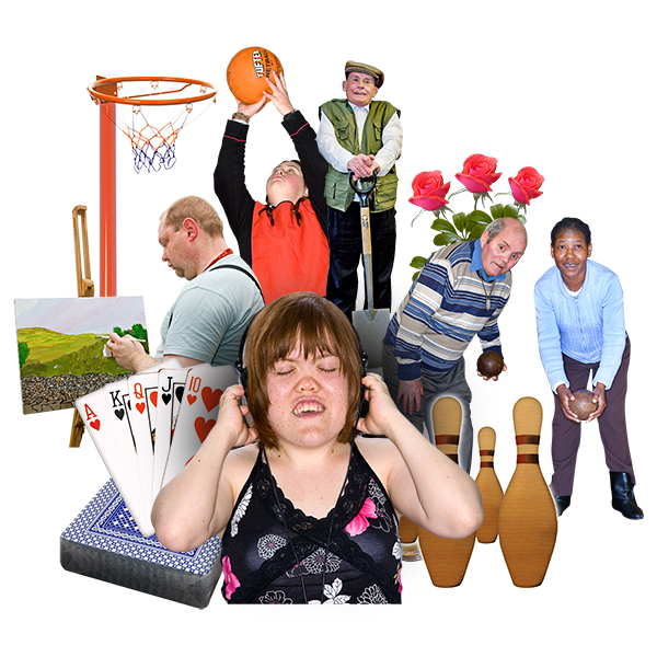 people doing activities like bowling, playing cards and painting