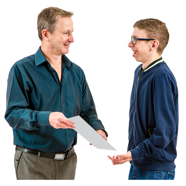 A man and a teenage boy in glasses looking at a document