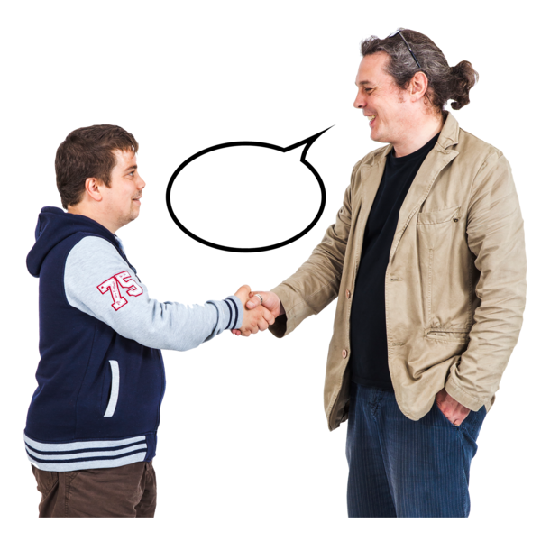 a teenage boy shaking hands with a man. Theya re talking and smiling