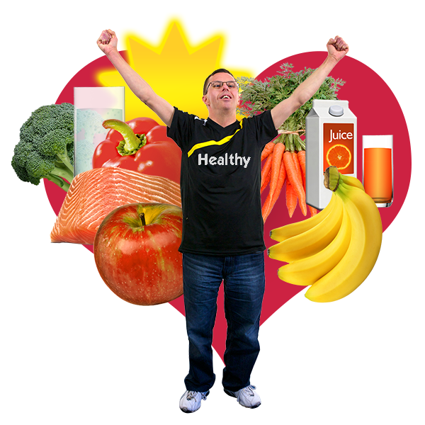 a heart in the background with fruit, vegetables, fish, milk and sunshine. There is a boy in front doing some stretches